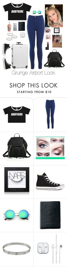 """""""Grunge Airport Look"""" by brenda-all-over ❤ liked on Polyvore featuring Miss Selfridge, Rebecca Minkoff, NARS Cosmetics, Converse, Royce Leather, Cartier, Rimowa, Fedora, hangingout and ombrehair"""