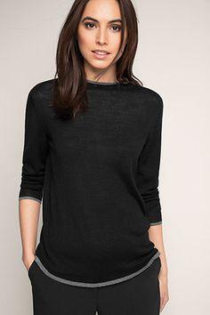 Esprit / Feinstrick-Sweater mit glänzenden Kanten