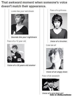 Beautiful descriptions lol XD this can't be any more true. Kris V Himchan Chanyeol Tao