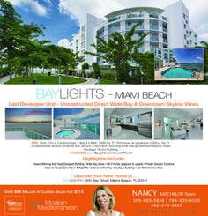 Miami Beach Baylights with Bay & Downtown Views. HOT LOCATION! This boutique wide Bayfront building offers spectacular unobstructed views across the water to Downtown Miami.  View Property: http://search.nancybatchelor.com/idx/details/listing/a016/A1953482/1910-BAY-DR-PH2-Miami-Beach-A1953482#.VCmdBeefuwE Contact: Nancy Batchelor Office 305-329-7718   Cell 305-903-2850