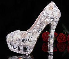 Luxury Heel White Pearls with Diamond Crystals - Gyémánt kristályokkal díszített exkluzív női cipő