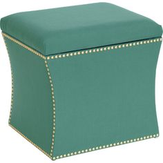 Showcasing nailhead trim and cool-hued upholstery, this stylish ottoman is perfect for resting your feet after a long day in the living room or den....