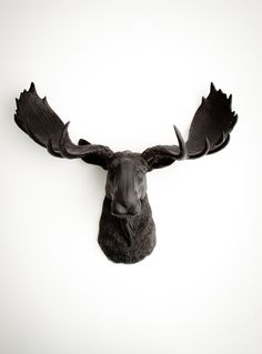 Faux Taxidermy - The Leonard - Black Resin Moose Head- Moose Resin Black Faux Taxidermy- Chic & Trendy. $99.99, via Etsy.