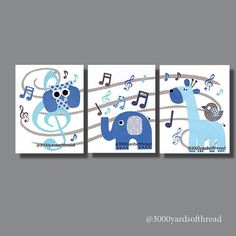 Music Note Owl Musical Nursery Artwork Print by 3000yardsofthread, $42.00