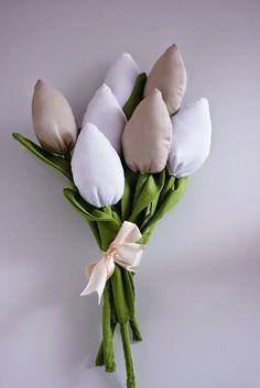 Tulipany - kolorowe, szyte, nigdy nie więdnące, easter decorations, tulips