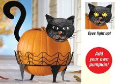 BLACK CAT PUMPKIN DECORATION EYS LIIGHT UP HALLOWEEN JACK O LANTERN HOLDER METAL