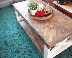 Did I mention this farmhouse herringbone coffee table was custom built? Similar, custom built tables start at $1,000 on Etsy and I've not seen any with this