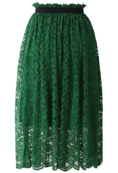 Emerald Green Full Lace Midi Skirt - Skirt - Bottoms - Retro, Indie and Unique Fashion