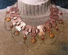 "18"" Vintage Copper Large Link Chain With Dangling Orange Crystals and Matching FREE Earrings ~ Free USA Shipping!   SOLD!"