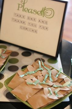 Perfect favors for a scrabble themed wedding shower! Totally DIY Tiny Scrabble tile pendant in each bag- really cute shower ideas, too- for the bride who loves Scrabble!
