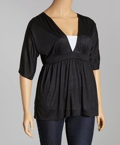 Take a look at this Black V-Neck Top - Plus on zulily today!