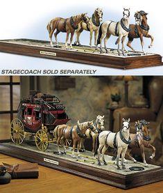 Franklin Mint 1868 Wells Fargo Wells Fargo 4-Horse Team & Display Base diecast car Wells Fargo Stagecoach, Bryer Horses, Thing 1, Franklin Mint, Foo Fighters, Old West, Beautiful Horses, Diecast, Mythology