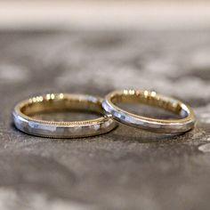 Pt,K18YG / marriage ring 槌目とミルグレイン。コンビカラーのマリッジリング。 [結婚指輪,Wedding ring,gold,ウエディング]