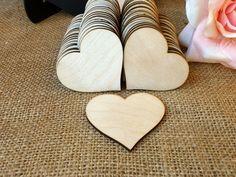 100 Wooden Hearts Natural Wood Heart by MelindaWeddingDesign, $50.00