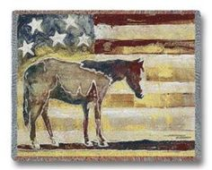 Horse Red White Blue Patriotic Tapestry Throw Blanket