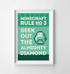 Minecraft Rule No 3 Wall Art Instant by itsDesignsByChelsea, $12.00