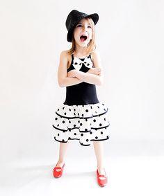 Sophie Catalou Black & White Dot Ruffle Dress//