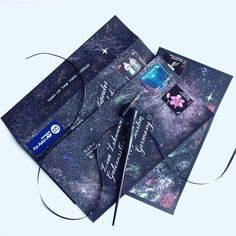 Snail mail, galaxy themed envelope. Calligraphy
