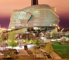 enRoute | Winnipeg's Architectural Renaissance, Night view of the Canadian Museum for Human Rights