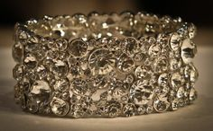 Wow! Silver Crystal Large Cuff bracelet. A definate show stopper at your special event. www.yorkpromenade.com