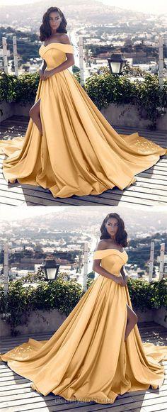 Yellow Prom Dresses, Ball Gown Prom Dresses, Long Prom Dresses 2018, Satin Prom Dresses Off-the-shoulder, Princess Prom Dresses Split Front #promdress