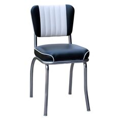 Richardson Seating 4290BLKWF 50's Retro Dual Tone Channel Back Diner Chair with Waterfall Seat