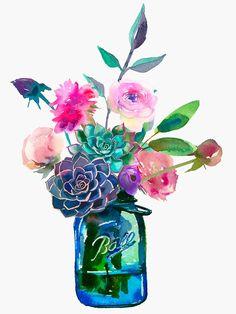 Watercolor flowers in mason jar Art Print by South Pacific Prints - X-Small Watercolor Print, Watercolor Flowers, Watercolor Paintings, Mason Jars, Mason Jar Crafts, Mason Jar Tattoo, Mason Jar Flowers, Diy Flowers, Jar Art