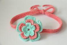 Crochet baby tieback, headband, baby girl, mint, coral, flower tieback, hair accessory, gift idea, baby shower, newborn, photo prop