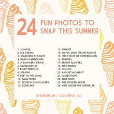 24 photos you need to snap this summer - Fat Mum Slim - Photography, Landscape photography, Photography tips Summer Vibe, Summer Fun, Summer Ideas, Summer Things, Summer Beach, Photography Challenge, Photography 101, Photography Projects, Fat Mum Slim