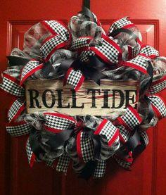 Alabama Crimson Tide Football Wreath Bama Door by PollysPinkTurtle