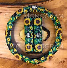 Brighten up your car interior with our beautiful sunflower steering wheel cover and seat belt covers set! I can make any item(s) to match this design. Here are some of my related listings! https://www.etsy.com/shop/ChicMonogram?search_query=sunflower