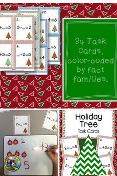 Need some fun games that will help your students with fact families! Check out these cards that can be used as a Scoot game or use them in a math center with the cute ornament manipulatives. #math activities#factfamilies#math#education #tpt #soltrainlearning
