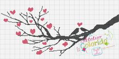 free love birds tree branch cross stitch pattern