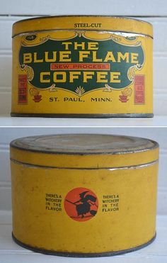 """BLUE FLAME COFFEE Tin with Witch on Broomstick - """"There's A Witchery In The Flavor"""""""