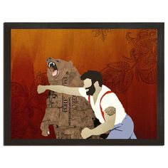 Many have speculated as to what the Haymake means. Is it Chuck Norris or Paul Bunyon knocking out a bear? Or might it represent the Cold War since the bear has Russian on it and the guy in the design looks American? Maybe it's an image of your dad or boyfriend on it? A lot of dudes look like the guy on the shirt... Over the last three years, this design has broken down all boundaries of race, gender and religion. Its become a favorite tee for nerdy book readers and its been given badass tee…