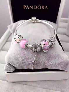 50% OFF!!! $159 Pandora Charm Bracelet Pink. Hot Sale!!! SKU: CB01638 - PANDORA Bracelet Ideas
