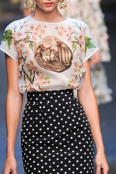 Dolce & Gabbana Details S/S '14 Graphic Blouse with Polka Dot Squirt