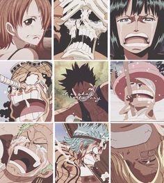 anime, anime sad, brook, chopper, cry, franky, friends, gif, luffy, nami, one piece, robin, sad, sanji, smile, usopp, zoro