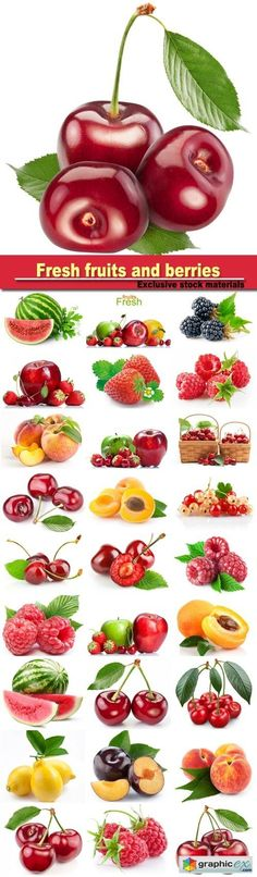 Fresh fruits and berries: raspberries strawberries peaches apricots cherries  stock images