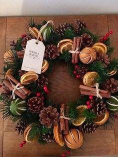 Your place to buy and sell all things handmade Christmas Door Wreaths, Holiday Wreaths, Holiday Crafts, Christmas Decorations, Christmas Ornaments, Winter Christmas, Christmas Home, How To Make Wreaths, Dried Fruit