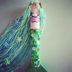 Clothespin mermaid with sequins yarn, craft foam, shell, paint & beads