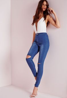 Missguided - Vice Super Stretch High Waisted Ripped Knee Skinny Jeans Mid Blue