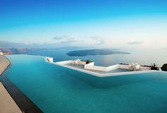 Pool at the caldera edge in Imerovigli Santorini