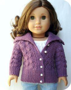 "Helena Lace Cardigan Sweater - PDF Knitting Pattern For 18"" American Girl Dolls. $4.50, via Etsy."