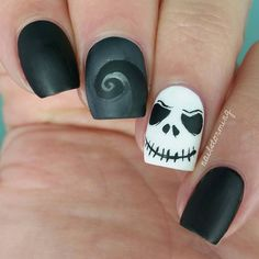"""Jack Skellington & Spiral hill! Full video on Youtube link in bio - - Products used: White: "" Alpine Snow "" OPI Lighter Gray: ""Cocktail Bling"" Essie…"""