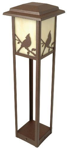 Moonrays 95855 Woodlawn Style Low Voltage Metal Path Light,11-Watt Bulb by Moonrays. $36.76. From the Manufacturer                The Woodlawn-Style accent add a unique look to your garden. It looks like more of a garden post than a standard path fixture. Its made of die cast aluminum that is finished with a luxurious redwood color. The lens is frosted amber glass on all four sides which really helps give a soft fire-like color. Decorative accent adds character...