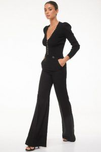 - Trousers with flared hems in stretch black - High waist with jewelled side buttons - Jumpsuit, Buttons, Boutique, Women's Trousers, Clothes, Black, Dresses, Style, Fashion