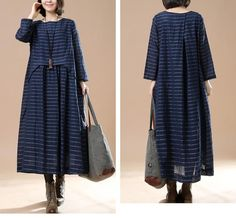 Blue Women cotton loose long sleeve - Buykud