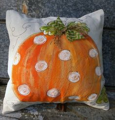 Hand-painted whimsical pumpkin pillow cover. It is 100% cotton, medium weight canvas fabric. Easy accessible back overlaps to fi pillow insert.