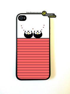 Owl Love - iPhone 4 Case, iPhone 4s Case, iPhone 4 Hard Case, iPhone Case. $15.00, via Etsy.